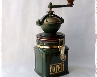 Coffee grinder,wood and ceramic coffee grinder,Manual grinder,kitchen decor vintage look,Vintage coffee mill,Old coffee grinder,Coffee