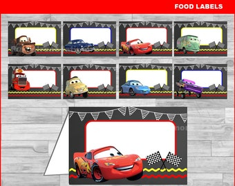 Cars food labels Instant download, Cars Chalkboard food tent cards, Disney Cars party food labels