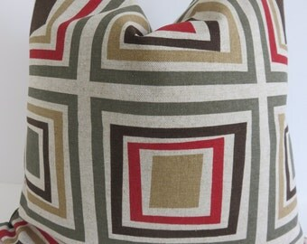 Pillow Cover, Red Brown,Beige , Geometric Pillow, Green Red Pillow Cover, Brown Beige Pillow