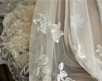 Couture fabric bridal bridal veil wedding dress fabric hand beaded English more available