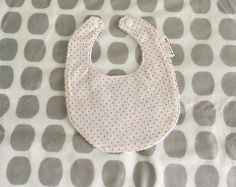 Designer Baby Bib - 0-6months - Orange Polka Dot
