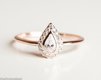 Pear Cut Engagement Ring - Unique Engagement Ring - Halo Engagement Ring - Pear Diamond Engagement Ring - Rose Gold Engagement Ring