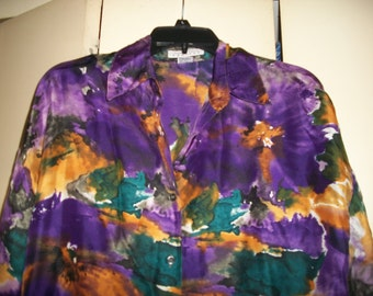 Vintage Express Silk, Abstract, Oversized Blouse Size S