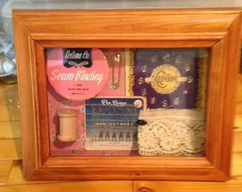 Handmade Shadow Box with Vintage Sewing Notions, Art