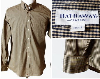 Vintage Men's Shirt Made in USA - 16.5 Neck Hathaway 35 Sleeve Button Down Oxford Dress Shirt