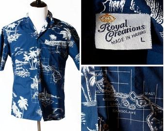 Vintage Men's Hawaiian Shirt Royal Creations - 90s Retro Large L Hawaiin Tropical Vacation Beach Made in the USA