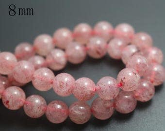 8mm Natural Strawberry Crystal Quartz Round Beads,Smooth and Round Stone Beads,15 inches one starand