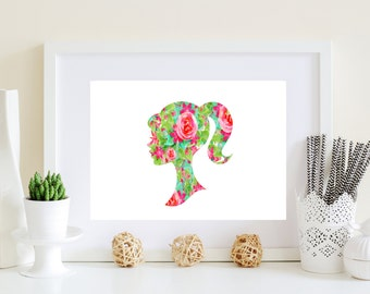 Cameo Art Print, Cameo wall decor, digital cameo art, Head silohouette art, Woman Silohouette, girl art print, art for girl, shabby chic art