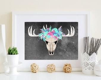 Boho deer art, Black background, Blue, purple, black, Bohemian deer, Native American art, Indian Poster, abstract deer art, printable deer