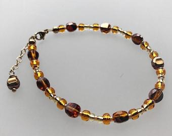 Sun Goddess Brilliant Lights Glass Bracelet in Gold Filled