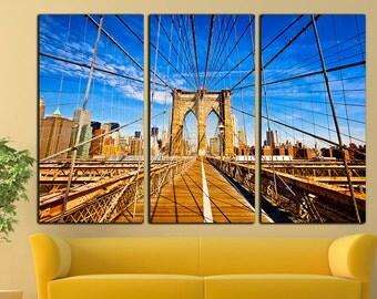 Brooklyn Bridge print Brooklyn Bridge canvas Brooklyn Bridge wall art Brooklyn Bridge wall decor Cityscape canvas Urban Large Print Decor