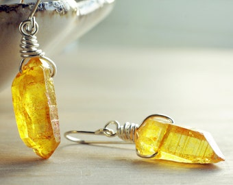 Yellow quartz earrings | Sterling silver yellow earrings | Honey yellow crystal earrings | Orange raw gemstone earrings | Minimalist | Boho