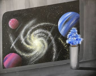 Outer space Acrylic painting Window space Spaceship Abstract Wall Art Space painting Space art Scifi art Scifi Artists original Fantasy Gift