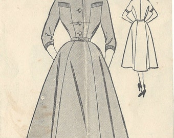 "1954 Vintage Sewing Pattern B34"" DRESS (R449)  Bestway E2605"