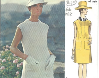 1968 Vintage VOGUE Sewing Pattern B32 1/2 Dress  (1415) By FEDERICO FORQUET