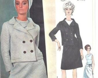 1965 Vintage VOGUE Sewing Pattern B34 Suit Skirt Jacket Blouse  (1729) SIMONETTA