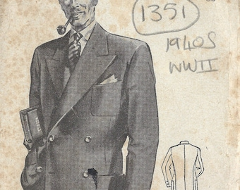 "1940s WW2 Vintage Sewing Pattern MEN'S JACKET BLAZER C38"" (1351) By Weldons 915"