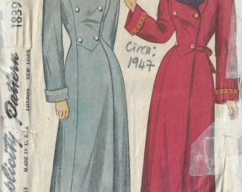 1947 Vintage Sewing Pattern B36 HOUSE COAT (1818) By Simplicity 1839