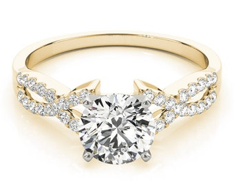 Unique Diamond Engagement Ring in 14k Yellow Gold, Unique Engagement Ring in 14k Yellow Gold, 14K Yellow Gold Unique Engagement