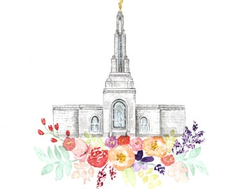 LDS Temple Watercolor (Redlands), Redlands California Temple