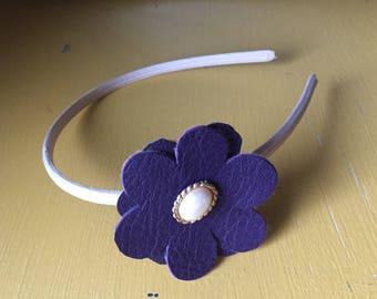 Dark purple and girl flower headband. Girls headband