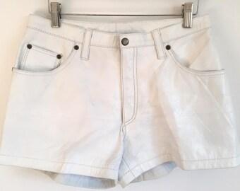 90s Vintage White Women's Leather Short Shorts size 10 / size 8