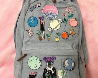 Tumblr 90s grunge denim backpack
