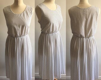 Vintage White Polka Dot Sundress - UK Size 16/US Size 12