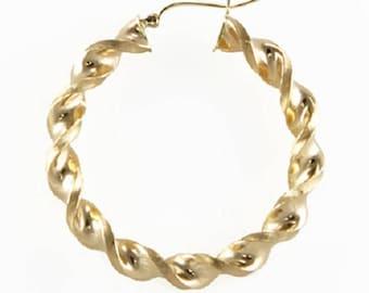 10K Yellow Gold Round Twisted Hoop Earrings 8mm 70-100mm - Swirl Twist Pair (2)