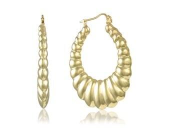 10K Yellow Gold Scalloped Hoop Earrings - Oval Shrimp Puffy Hollow Door Knocker Pair (2)