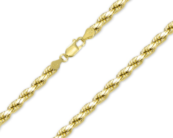"""Featured listing image: 10K Yellow Gold Hollow Diamond Cut Rope Necklace Chain 5.0mm 20-30"""" - Link"""