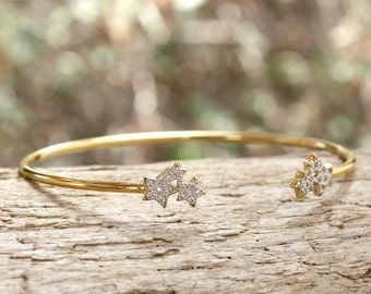 Bracelet ring stars gold-plated 750 thousandth 3 microns and cz