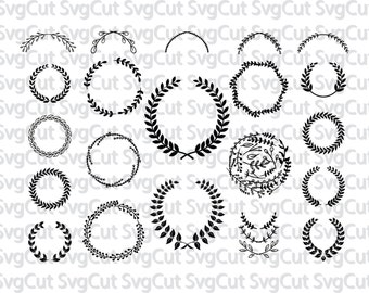 21 Leaf wreath svg, laurel wreaths clipart bundle, digital download, leaf circle monogram frame, files svg, png, dxf, Silhouette and Cricut