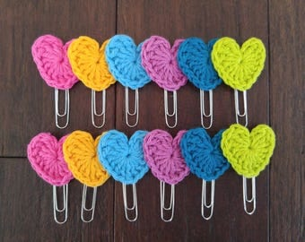 Crochet Colorful Hearts of 6 or 12 with jumbo paper clip (paper clips, book marks)