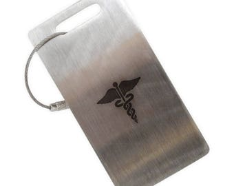 Caduceus Medical Symbol Stainless Steel Luggage Tag