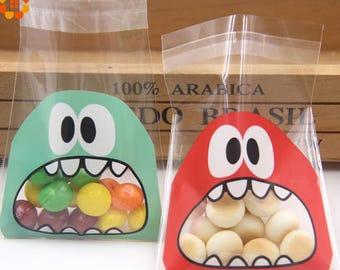 50Pcs Self Adhesive cartoon monster packaging bags