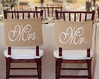 Mr. & Mrs. Set Wedding Chair Sign