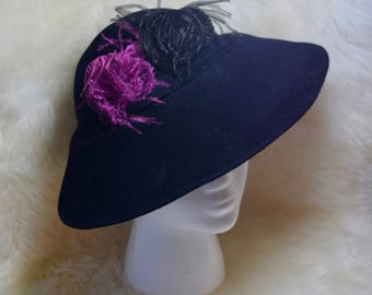 Vintage Genuine Velour Hat with Feathers