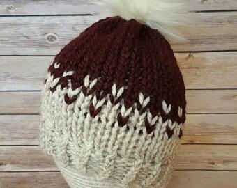 Women's Beanie Hat with White Faux Fur Pom Pom, Red White Winter Hat, Women's Beanie Hat, Knitted Hat, Faux Fur Wool Hat, Ready To Ship