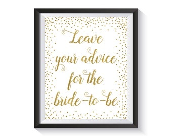 Advice For The Bride To Be Printable Sign, Gold confetti Bridal Shower Advice Sign, Leave Advice Sign, Bridal Shower décor, Wedding advice