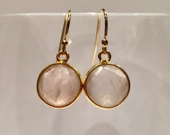 Earrings gold filled 14K quartz round easy to wear girl gifts woman gift set with loops delicate birthday present