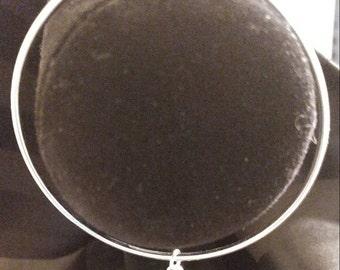 Handmade silver bangle bracelet with spider charm