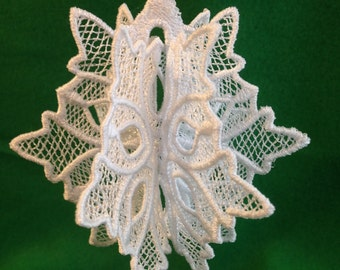 Christmas Ornament - Snowflake - Christmas Free Standing Lace Decoration - Christmas Embroidered FSL Ornament - 3D Ornament - Snowflake