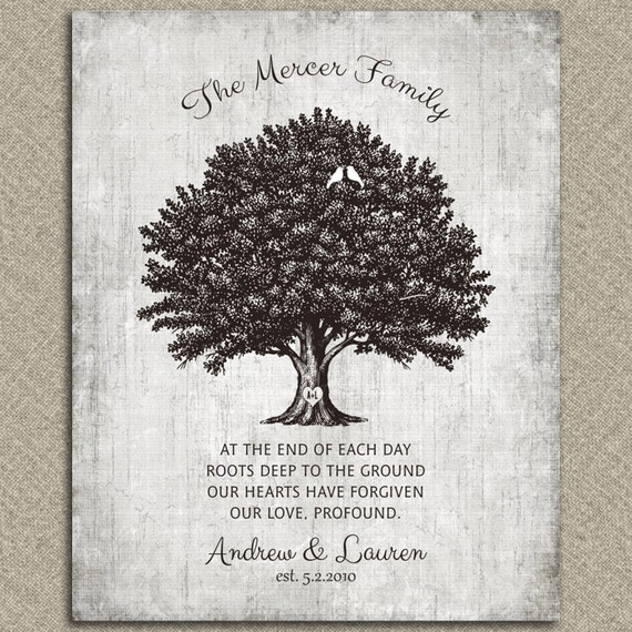 Personalized Vintage Family Tree Of Life Poem 10th Wedding