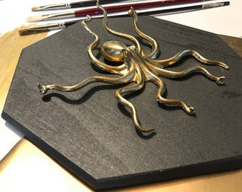 Octopus Home Decor, Gold Faux Aquatic Octopus Taxidermy, Nautical Wall Art, Sea Life, Home Decor