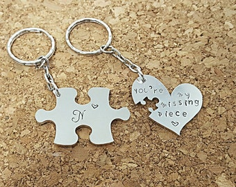 Missing piece keyring, puzzle Piece keychain, valentines gift, gift for him, gift for her, anniversary gift, wedding gift, husband gift