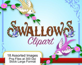 Swallows - Clipart - 18 Assorted Images - 18 png files Stock Large Format 300 dpi