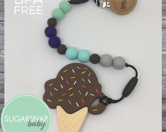 Chocolate ice cream  - baby teether - toddlers - chew toys - best teethers - newborn gift - silicone teether - baby shower gift -brown