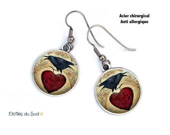 Crows, Gothic, red heart earrings, surgical steel hooks, ref.214