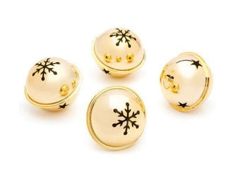 Gold Jingle Bells, 60mm (2.36 Inches), Snowflake and Star Cutouts, Set of 6